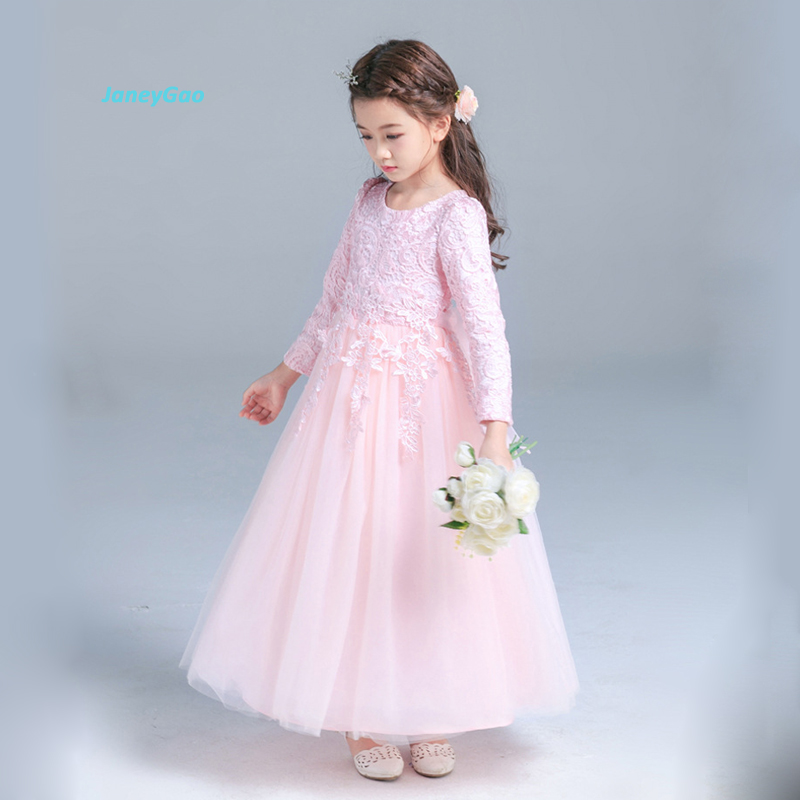 JaneyGao Flower Girl Dresses With Long Sleeves Floor Length White Elegant Princess Dress Girls Formal Gown For Wedding Party