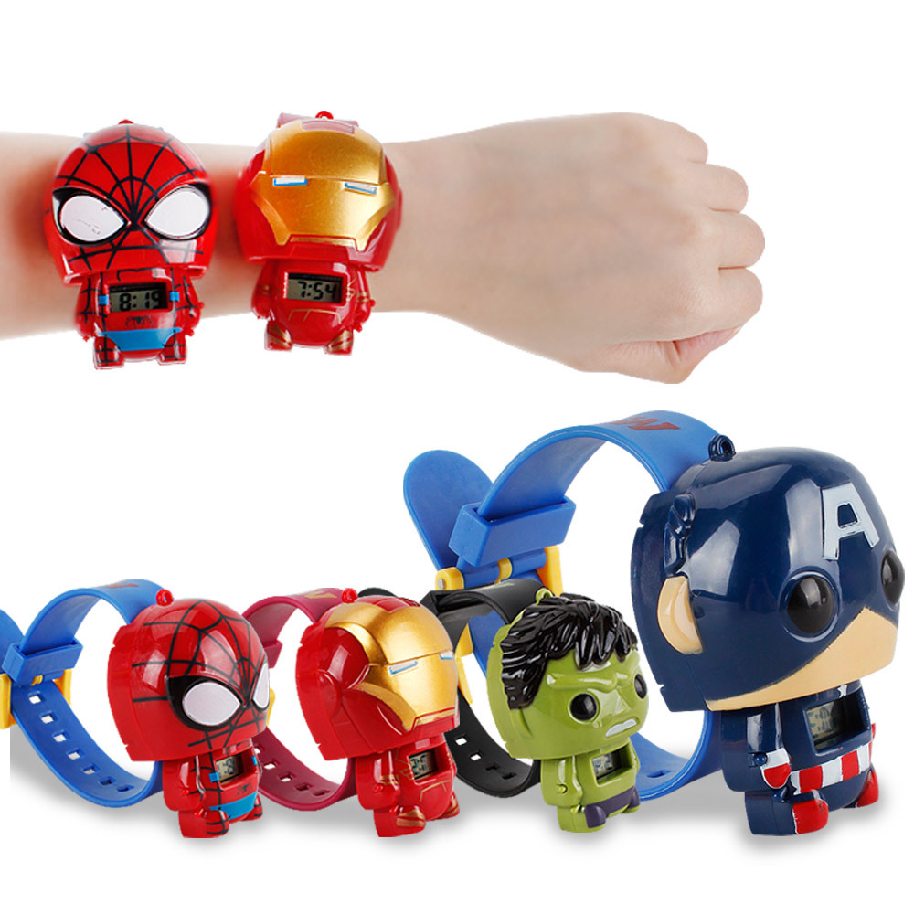 Avenger Alliance Child Watch Iron Man Hulk Spider Man American Captain Transformers Electronic For Student Kids Watches Hot Toys