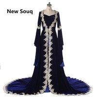 Королевский синий бархат кафтаны Вечерние платья Длинные рукава с аппликацией вечерние кружевные платья vestido de festa арабское платье для выпу