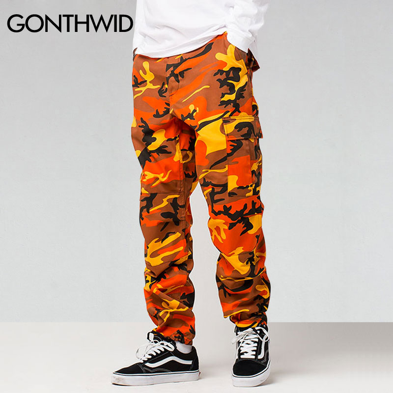 GONTHWID Color Camo Cargo Pants Mens Baggy Tactical Trouser Hip Hop Casual Cotton