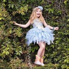 Schöne hellblau blumenmädchen kleider 2017 mini pailletten ballkleid tüll kinder abendkleider mädchen prinzessin kleid vestido formatura