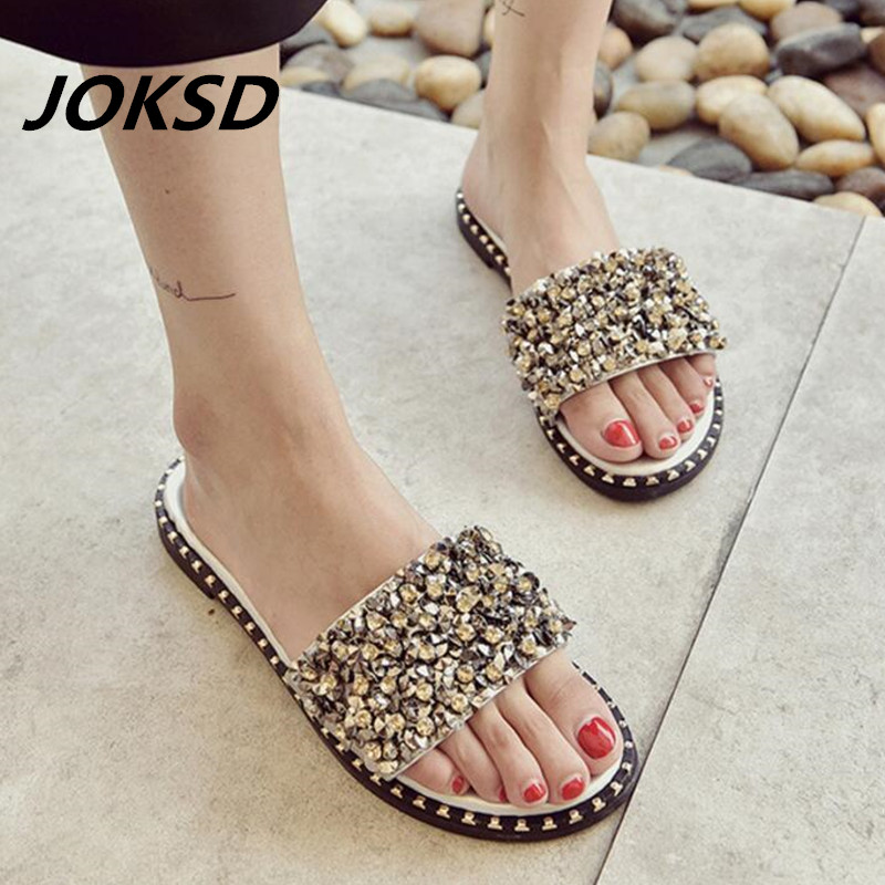 6721ab85e2152a Luxury Designer Slide Sandals Women Slippers Glitter Rhinestone Shoes Woman  H Cut-Out Flats Peep Toe Flip Flops Summer Ciabatte