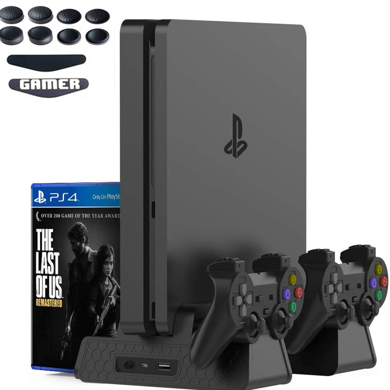 PS4/PS4 Slim/PS4 Pro Vertical Console Cooling Pad Fan Controller Charger Game Disk Storage Stand Tower Base For Playstation 4