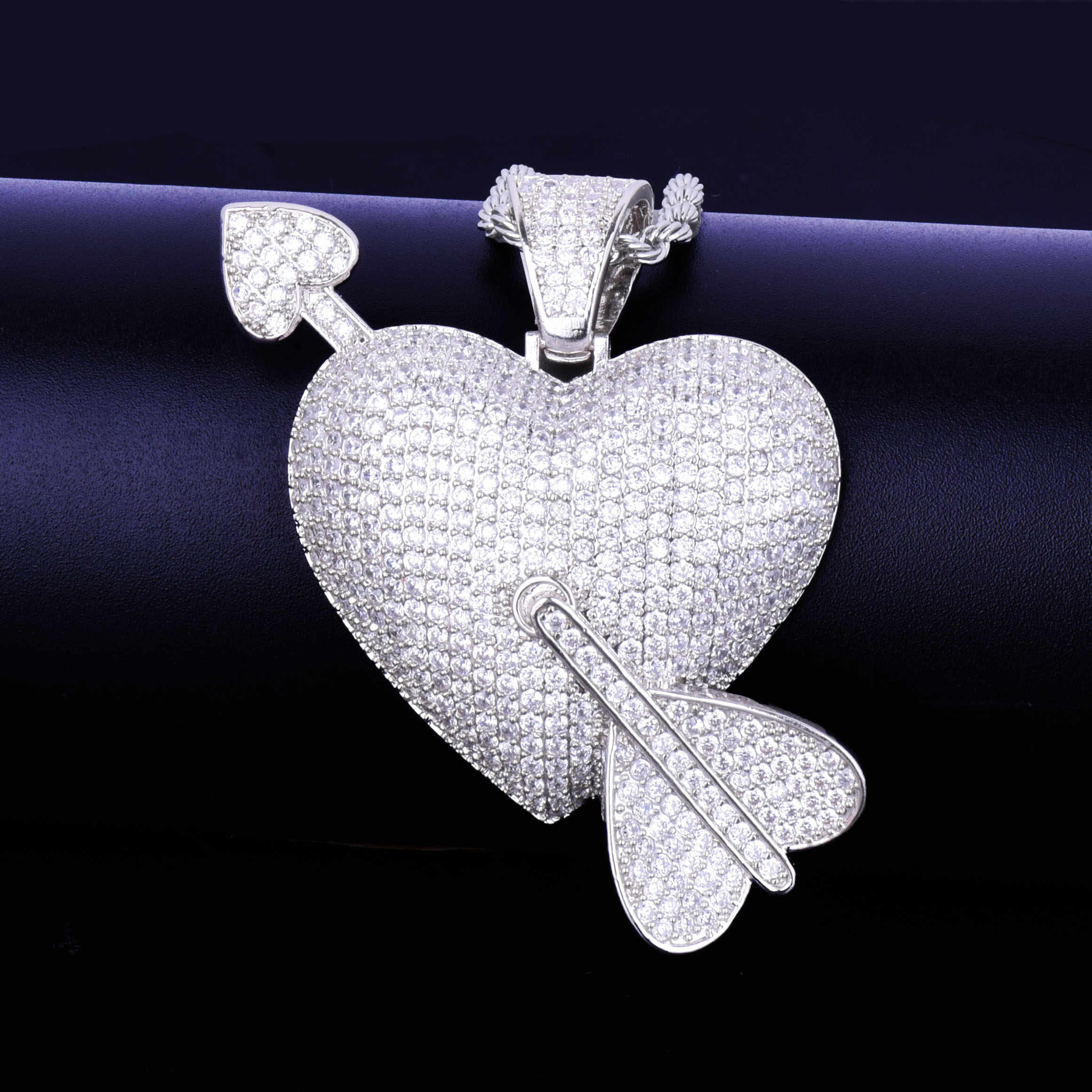 Trái tim Mũi Tên Mặt Dây Chuyền Đẹp, Mặt Dây Chuyền Nam 4mm Bóng Dây Chuyền Vàng Màu AAA Cubic Zircon Nam Hip hop của Đá bộ trang sức