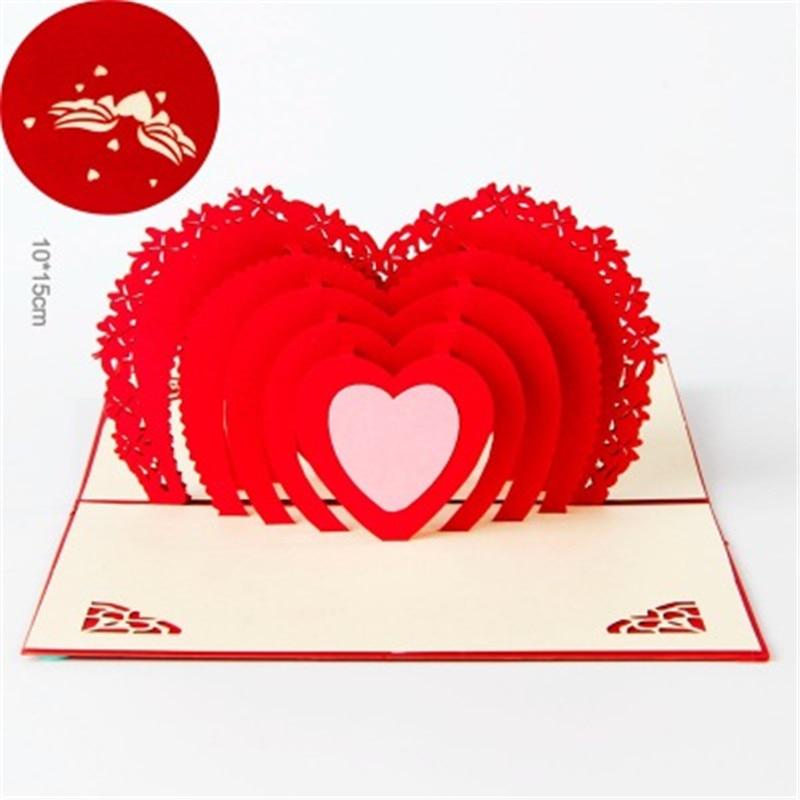 3pcs/set  10*15cm Valentine's Day 3D Pop up Greeting Card Postcard Matching Envelope Laser Cut Handmade Love Post Card cd iggy pop post pop depression