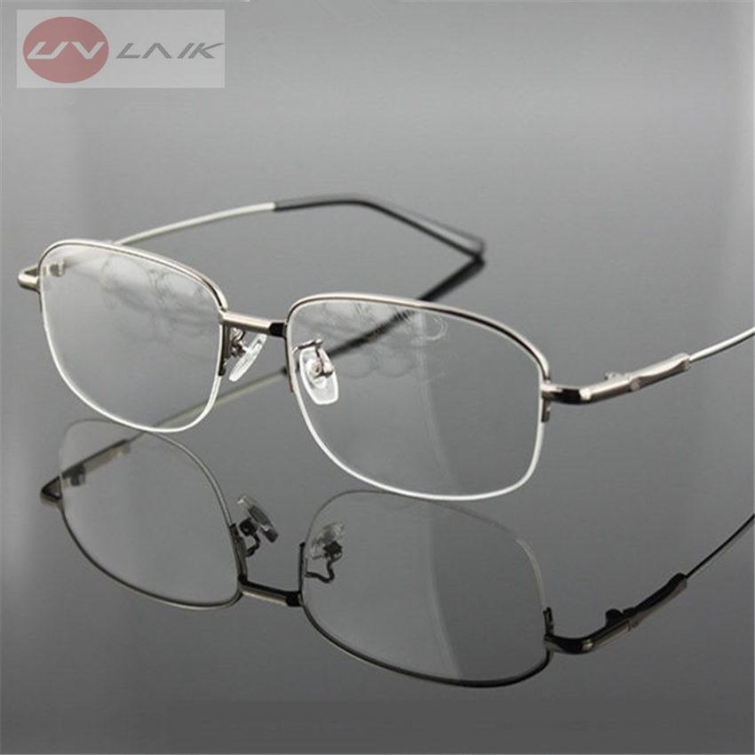 UVLAIK Memory Titanium Eyeglasses Half Alloy Frame Optical Glasses Frame Men Women Retro Half-frame Glasses Prescription Frames