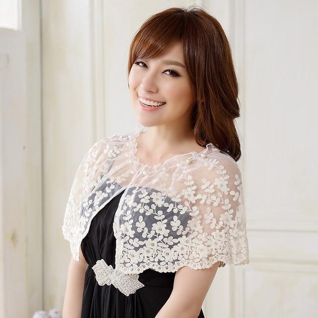 Women Bridal Wraps Spied Lace Short Jacket Shawl Jacket Bridal Wraps Cloak Spring Summer Wear O-neck White Plus Size