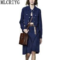 Женский комплект из двух предметов 2019 синяя джинсовая короткая куртка женский европейский бренд джинсы мини платье элегантные женские кос