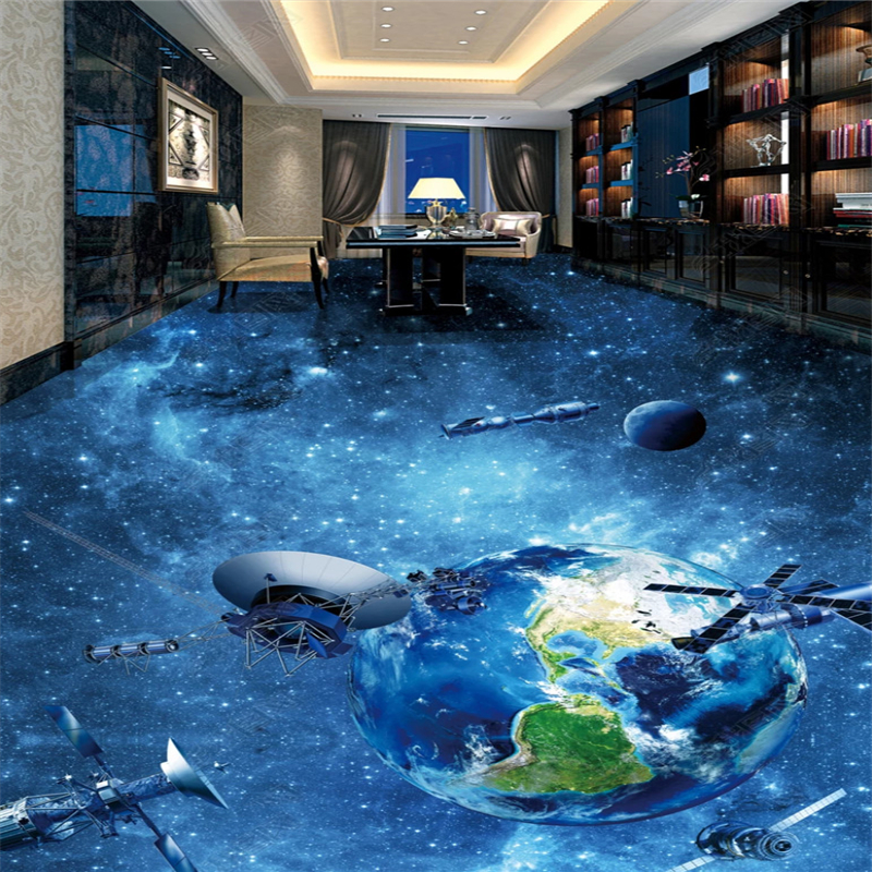beibehang wallpaper on the wall large Custom home interior Universe Galaxy Earth 3D Flooring wallpaper for