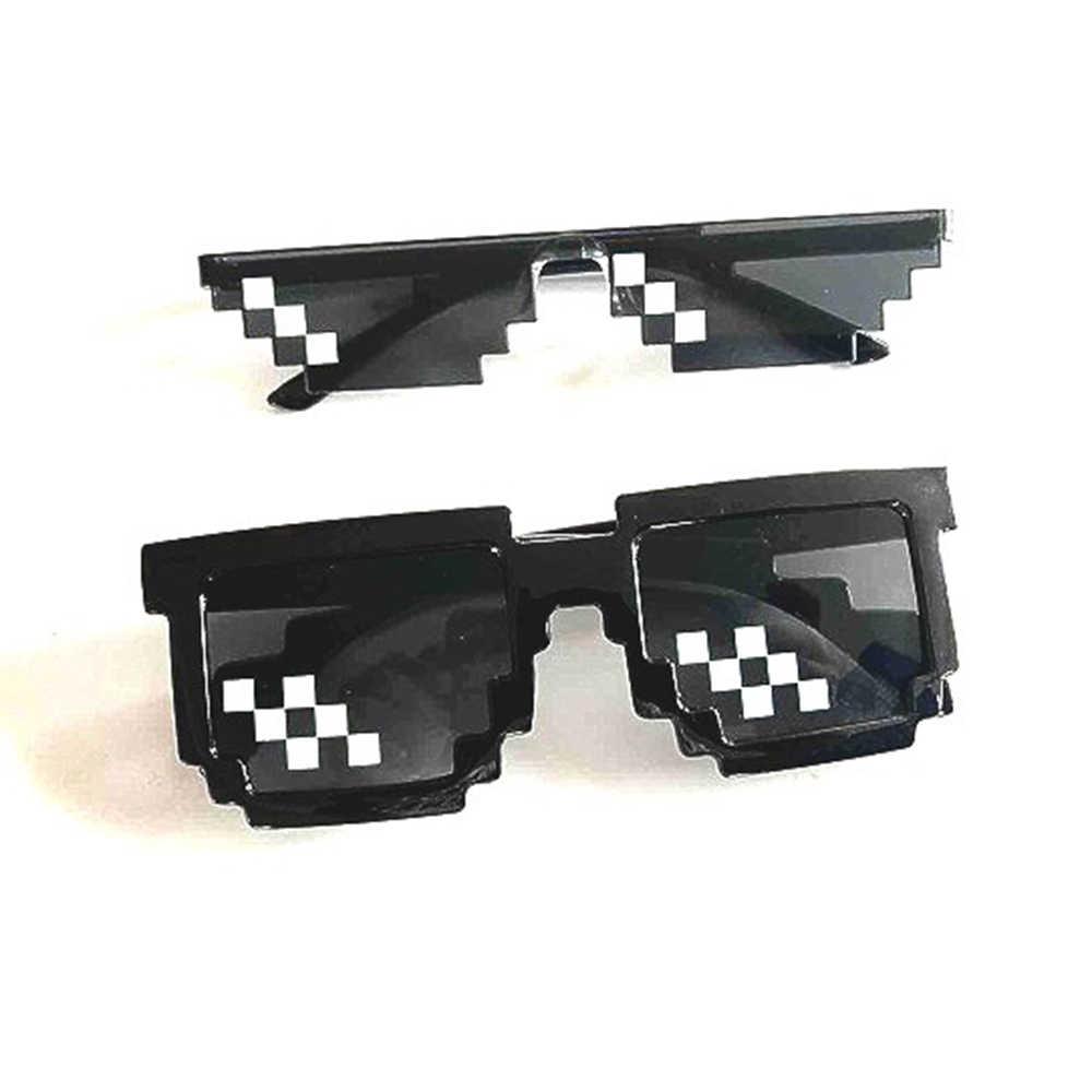 Klassnum Kacamata 8 Bit MLG Pixelated Kacamata Hitam Pria Wanita Merek Thug Life Pesta Kacamata Mosaik Vintage Eyewear