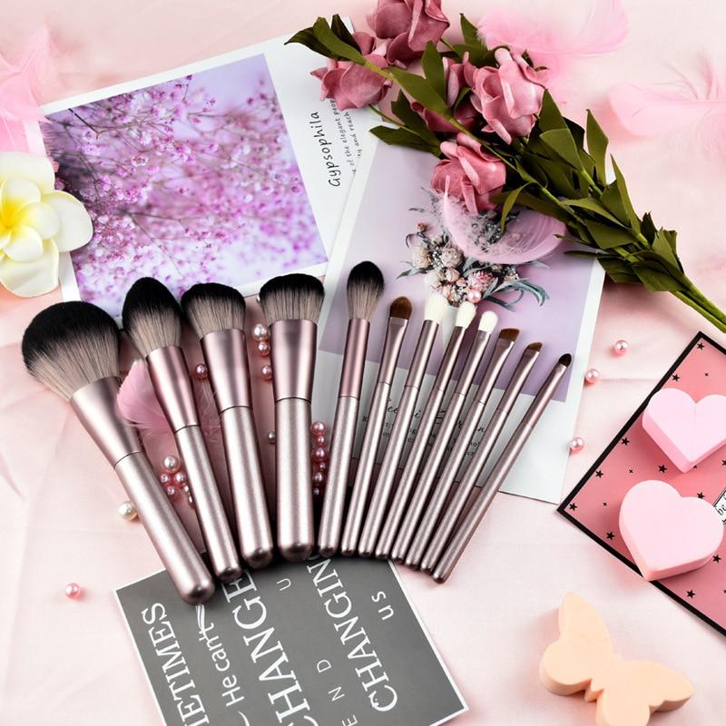 12Pcs animal hair makeup brush microcrystalline eye shadow foundation repair capacity eyebrow makeup brush set wool beauty tools 2
