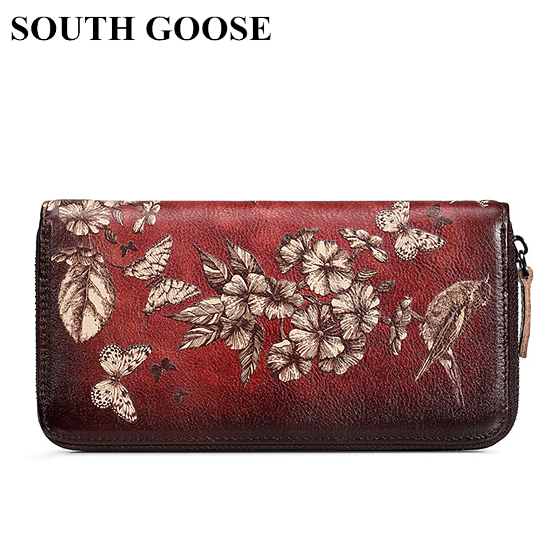 SOUTH GOOSE New Cowhide Leather Women Wallets Retro Long Clutch Wallets Lady Printing Floral Cell Phone Bag Coin Purse Money Bag