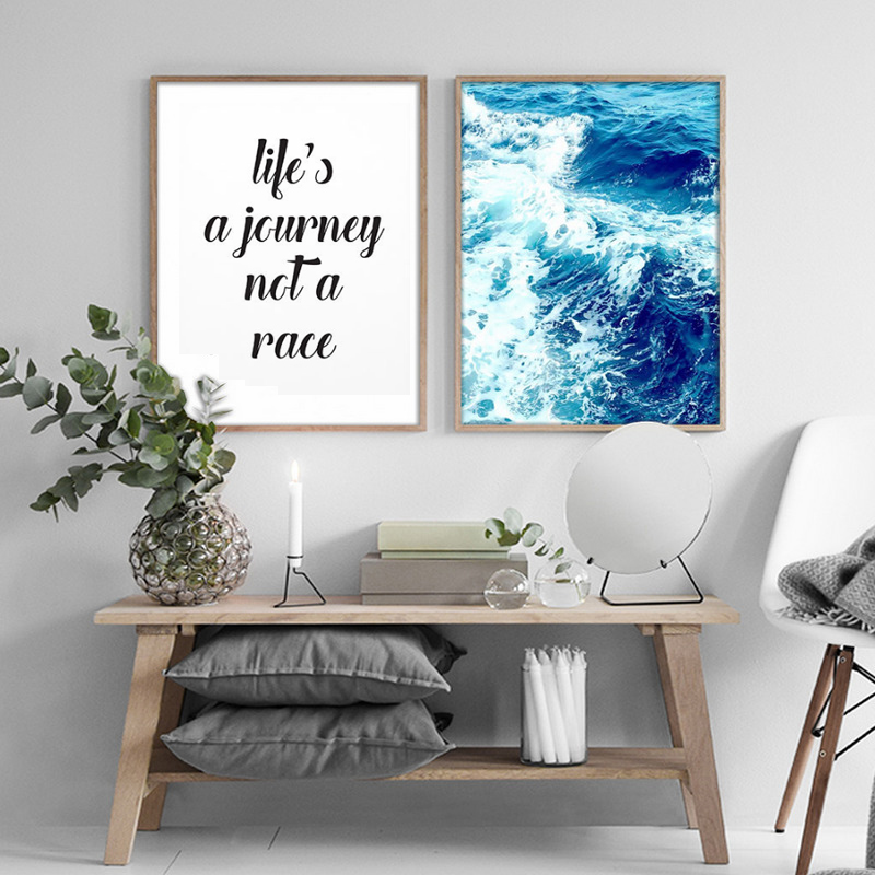 SURELIFE Nordic Decorations Life Motivational Seascape Canvas Paintings Poster Print Wall Art Pictures Living Room Home Decor