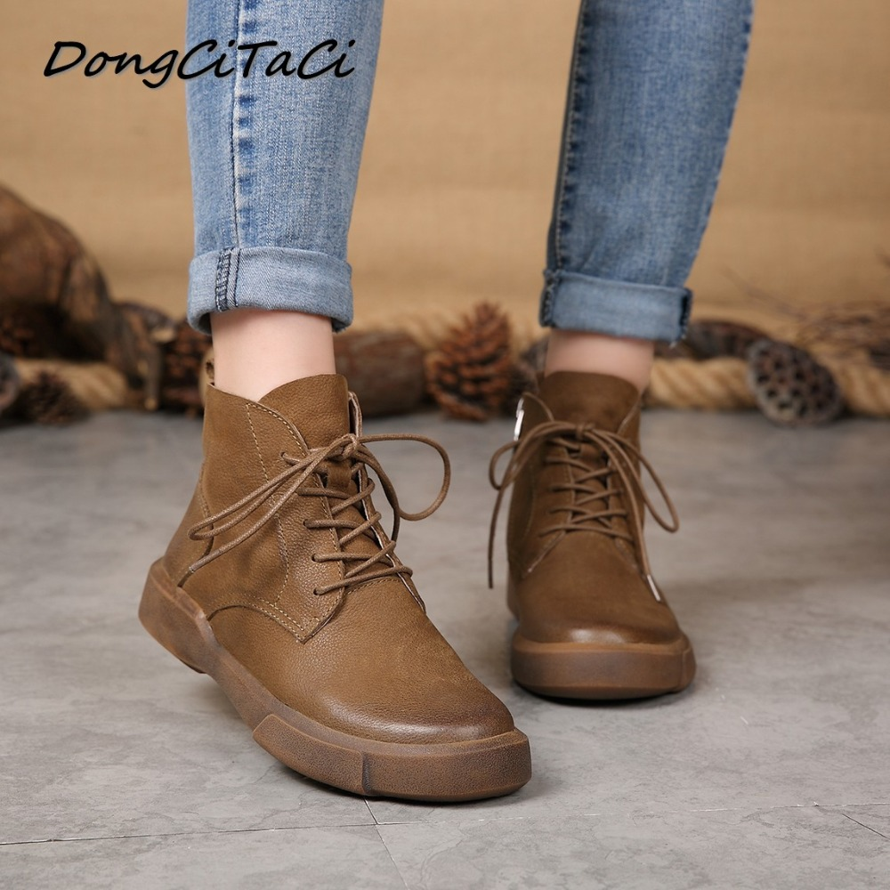 DongCiTaCi Autumn Winter Cow Leather Women Ankle Boots shoes Woman Retro Lace up Female Short Bootie