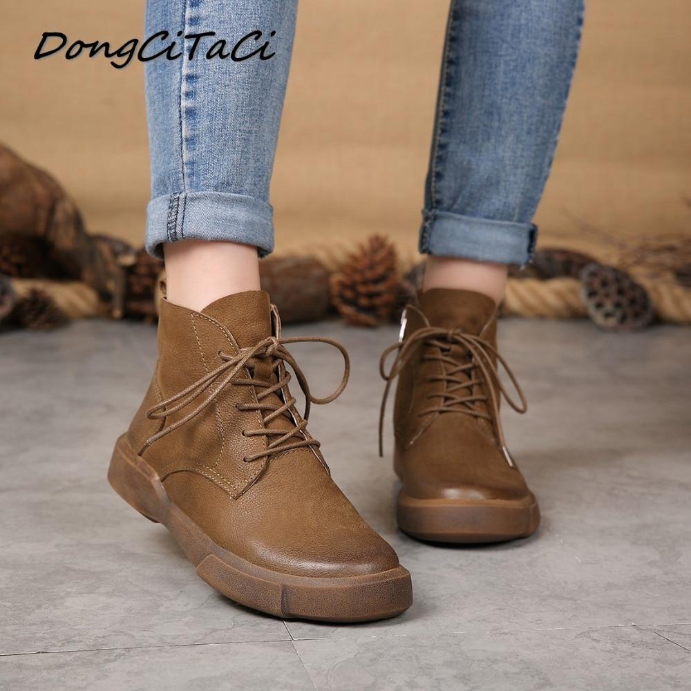 DongCiTaCi 秋冬牛革女性のアンクルブーツ靴女性のレトロなレースアップ女性ショートブーティー本革ブーツ  グループ上の 靴 からの アンクルブーツ の中 1