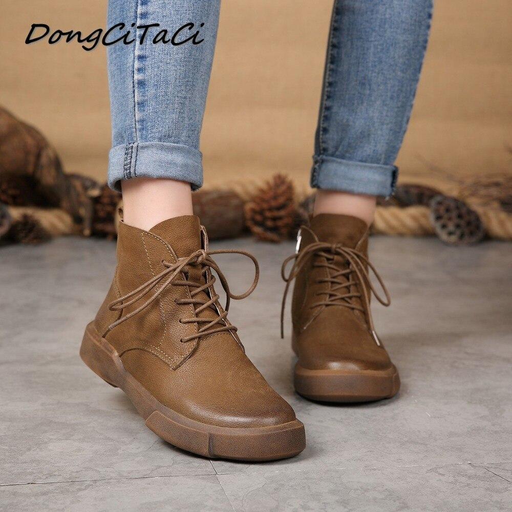 Dongcitaci 가을 겨울 암소 가죽 여성 발목 부츠 신발 여성 레트로 레이스 여성 짧은 부티 정품 가죽 부팅-에서앵클 부츠부터 신발 의  그룹 1