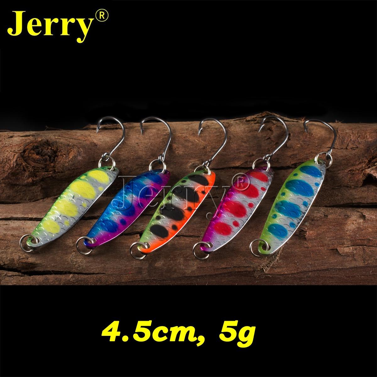 Jerry 5vnt. 5g liejimo metalo šaukštai žiemos žvejybai vilioja dirbtinį masalą