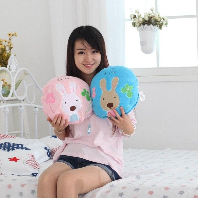 Lovely Sugar Rabbit Air Conditioning Blanket Dual-Purpose Blanket for Children Nap Soft Staffed Rabbit Pillow Cushion