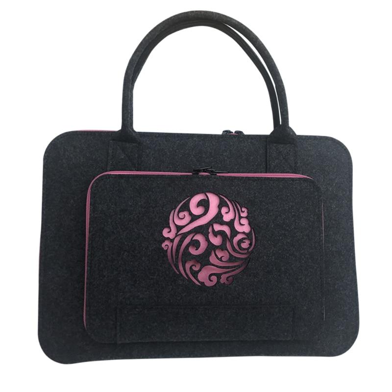 Wool Felt Pink Kunde Laptop Sleeve Bag 11 12 13 14 15.6 17 tums bärbar datorväska för kvinnor handväska handväska för Macbook Air 13