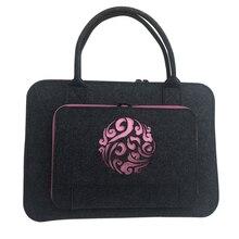 Wool Felt Pink Coulds Laptop Sleeve Bag 11 12 13 14 15.6 17 Inch Case For Women Briefcase Handlebag Macbook Air