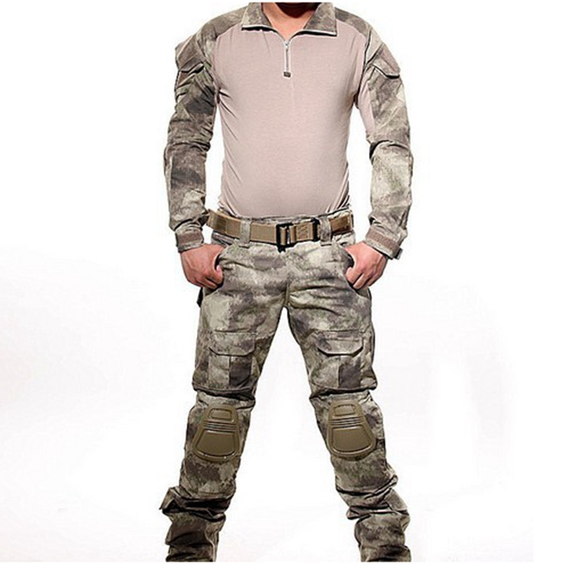 A TACS Tactical Combat Uniform Gen3 shirt + pants Military Army Pants with knee pads Size S-XXL ACU MULTICAM WOODLAND DIGI scoyco motorcycle riding knee protector extreme sports knee pads bycle cycling bike racing tactal skate protective ear