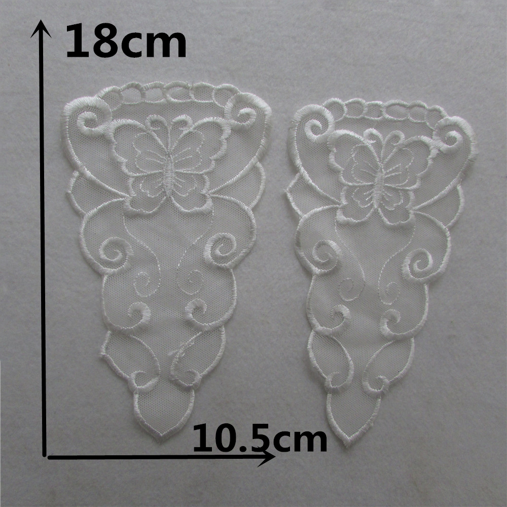 1pc A pair sale high quality front and back Lace Collar Style Beautiful Flower Lace Applique Trim, Lace Fabric Sewing Supplies