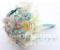 9 Inch Bridal wedding bouquet brooch / Hydrangea Bouquet / feather the sides, crystal, pearl bouquet / bridal bouquet blue