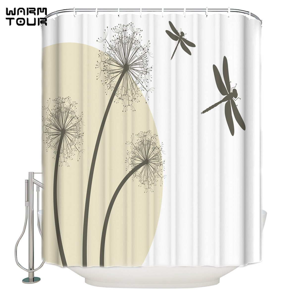 warmtour shower curtain dandelion dragonfly extra long fabric bath shower curtains mildew resistant bathroom decor with hooks shower curtains aliexpress