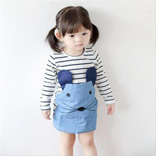 New 2016 Striped Patchwork Character Girl Dresses Long Sleeve Cute Mouse Children Clothing Kids Girls Dress Denim Kids Clothes