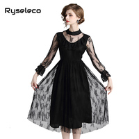 Autumn Black Lace Dress Fashion Slim O neck Sexy Hollow Out Party Work Casual Dresses Women A line Vintage Patches Floral Dress