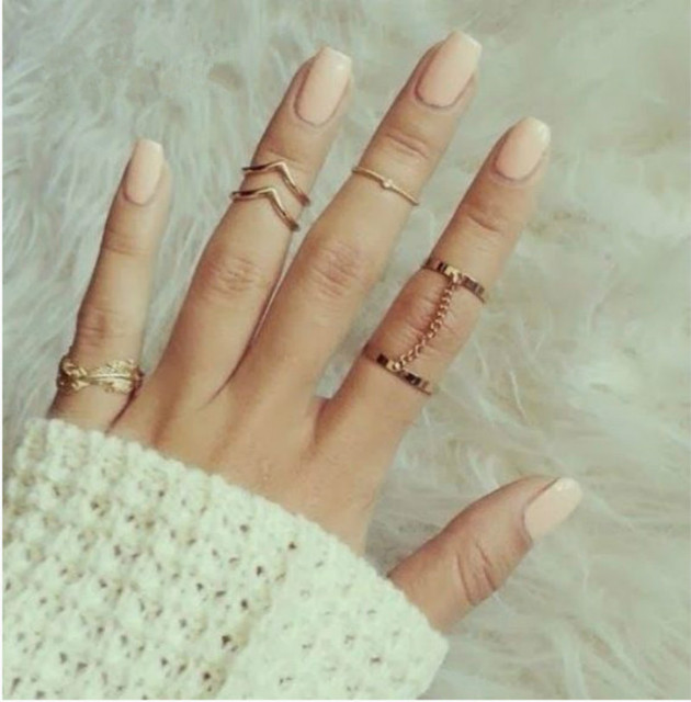 2018 New Arrival Leaves Leaf V-Joint Ring with Finger Chain 6-Piece Ring Set Rin