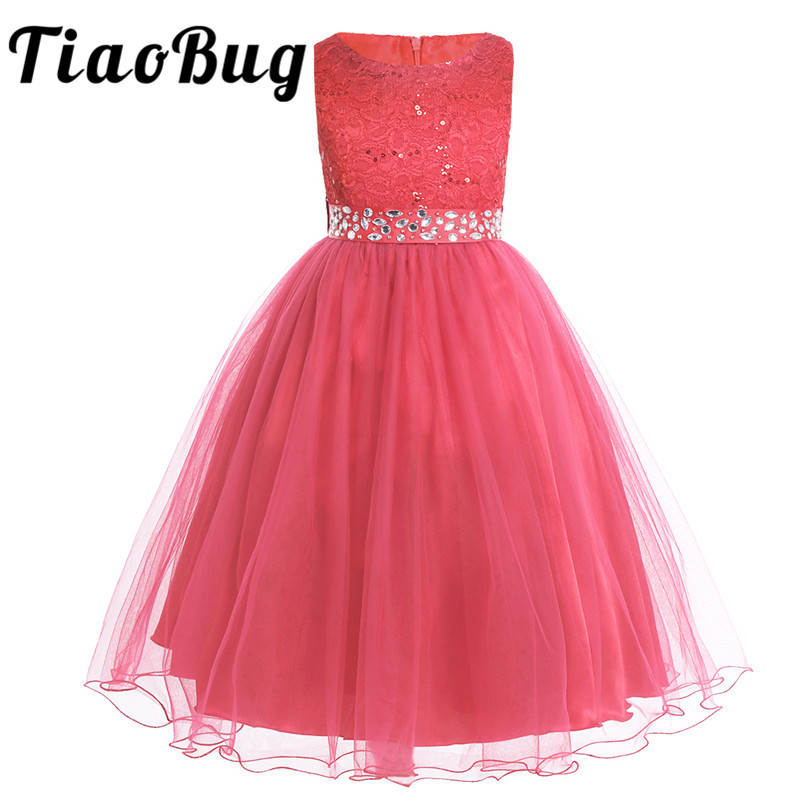 Tiaobug Kids Flower Girl Dresses Children Pageant Evening Gowns Sequined Lace Mesh Ball Gowns Wedding First Communion Dresses