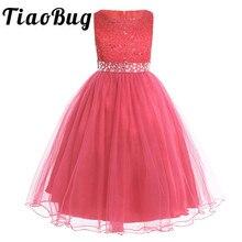 Tiaobug子供フラワーガールのドレス子供ページェントイブニングドレススパンコールレースメッシュボールウェディング初聖体ドレス