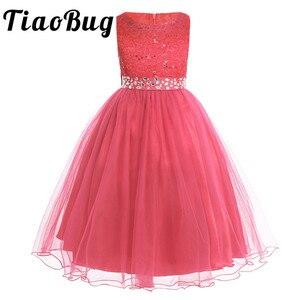 Image 1 - Tiaobug ילדים ילדה פרח שמלות ילדים תחרות ערב שמלות נצנצים תחרה רשת כדור שמלות חתונה ראשית הקודש שמלות