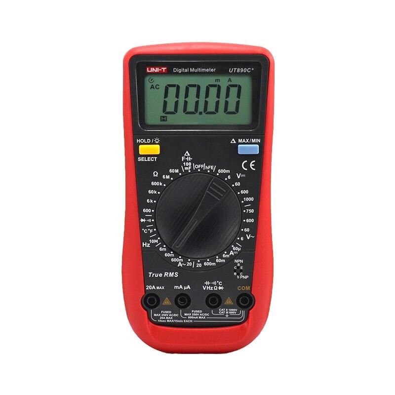 UNI-T UT890C+ True RMS Digital Multimeter Ammeter Ohm Capacitance Tester C/F Temperature Universal Meter LCD Count 6000 Meter