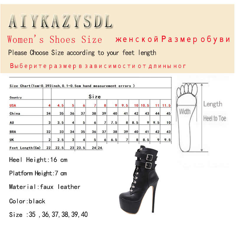 5e350fc33e2c ... AIYKAZYSDL Women Ultra Very High Heel Party Shoes Platform Ankle Boots  Stiletto Gothic Cross Strap Bootie