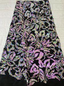Image 1 - Tissu africain en dentelle, robes de soirée, dentelle, velours violet, verte, paillettes, tissu de haute qualité, 2018