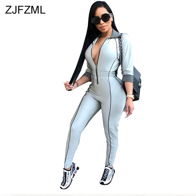 d896017bcf9b9 ZJFZML Plus Size Jumpsuit For Women 2018 Casual 3 4 Sleeve Turn-Down Collar  Plus Size Catsuit Autumn Front Zipper Bandage Romper