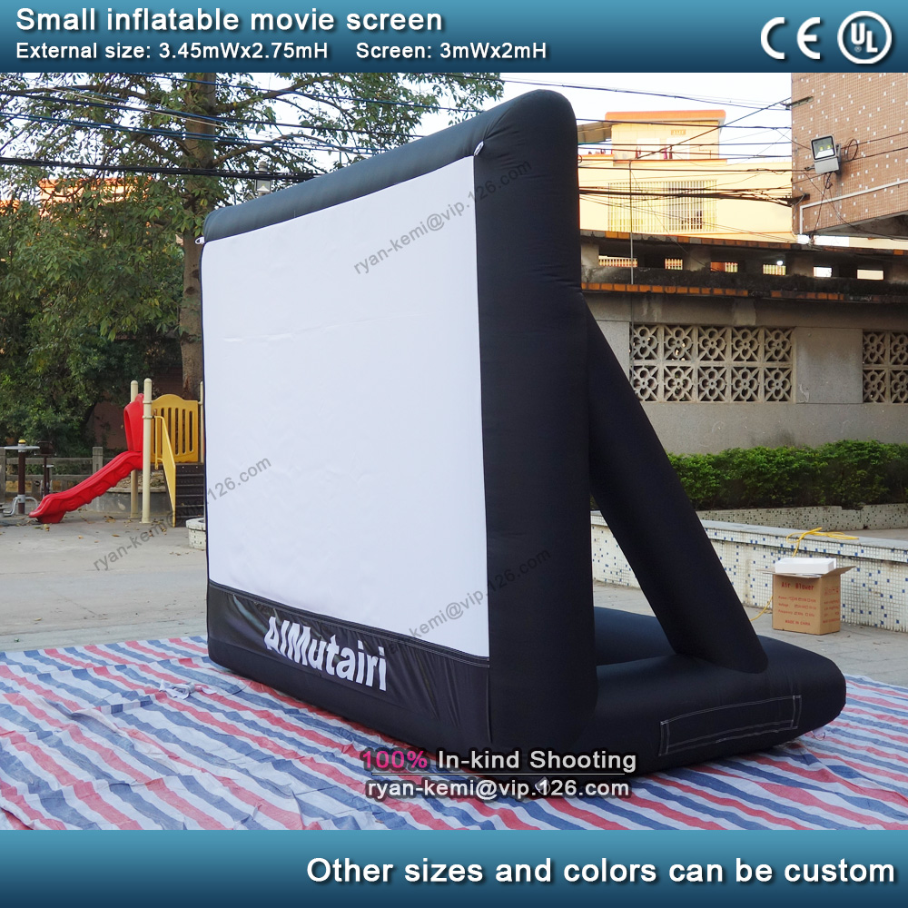 3m front rear projection inflatable movie screen small inflatable film screen yard party TV air cinema with blower 2