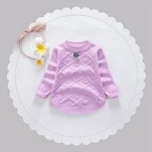 2017 Autumn Winter Baby Girls Long Sleeve O Neck Rhombus Flower Pullover Sweater Kids Princess Cotton Knitwear Jumpers