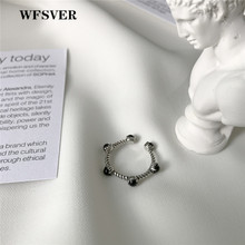 WFSVER 925 sterling silver ring for women vintage chain with black agate opening adjustable personality rings fine jewelry gift цена 2017