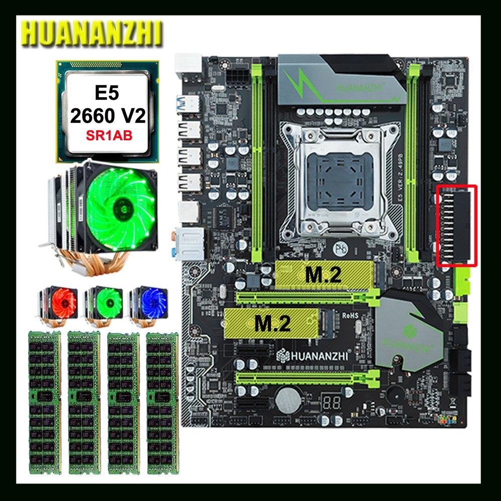 Grande marca HUANANZHI X79 motherboard Pro com DUAL slot SSD NVMe M.2 CPU Intel Xeon E5 2660 V2 com 6 tubos RAM cooler 64G (4*16G)