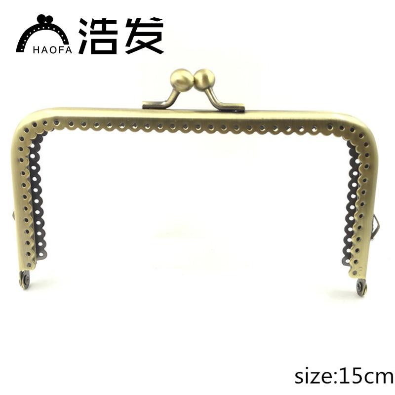 Bolsa de Costura Bolsas de Moedas de Metal Alça de Metal Acessórios para Bolsas Bonito Bronze Alça Portátil Beijo Fecho Quadro Pequeno 15 cm