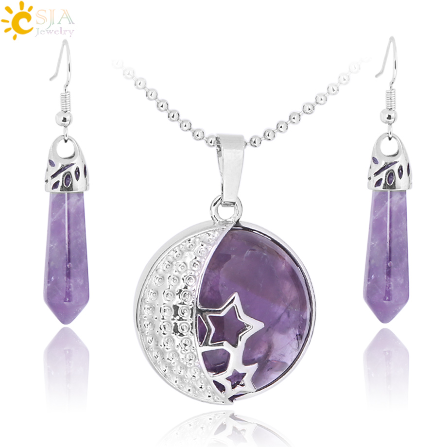 CSJA Classic Love Gift Summer Beach Jewelry Set Moon Stars Natural Purple Stone Pendants Necklace Hook Dangle Drop Earring E385