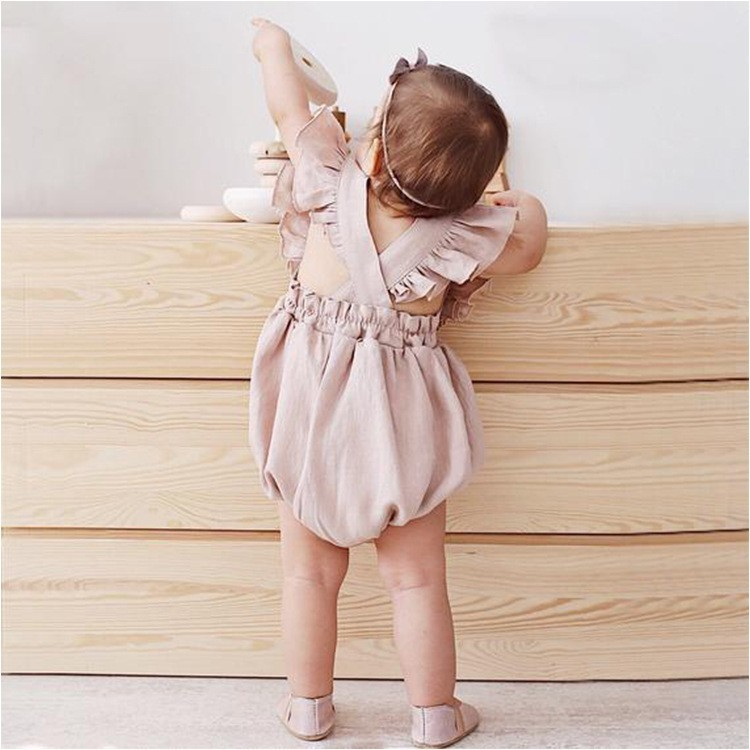 HTB1ePSBUYrpK1RjSZTEq6AWAVXa0 Organic Cotton Baby Girl Clothes Summer New Double Gauze Kids Ruffle Romper Jumpsuit Headband Dusty Pink Playsuit For Newborn 3M