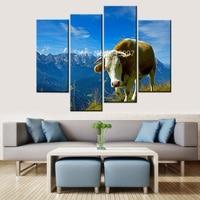 Модульные Стены Картины фотографии современный пейзаж животных корова HD Жикле отпечатки на холсте картины абстрактный Синий Бесплатная до...