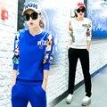 tracksuit for women 2016 autumn women's panda Printed jacket+ pants Retro suits female large size loose 2 piece Retro set 3xl