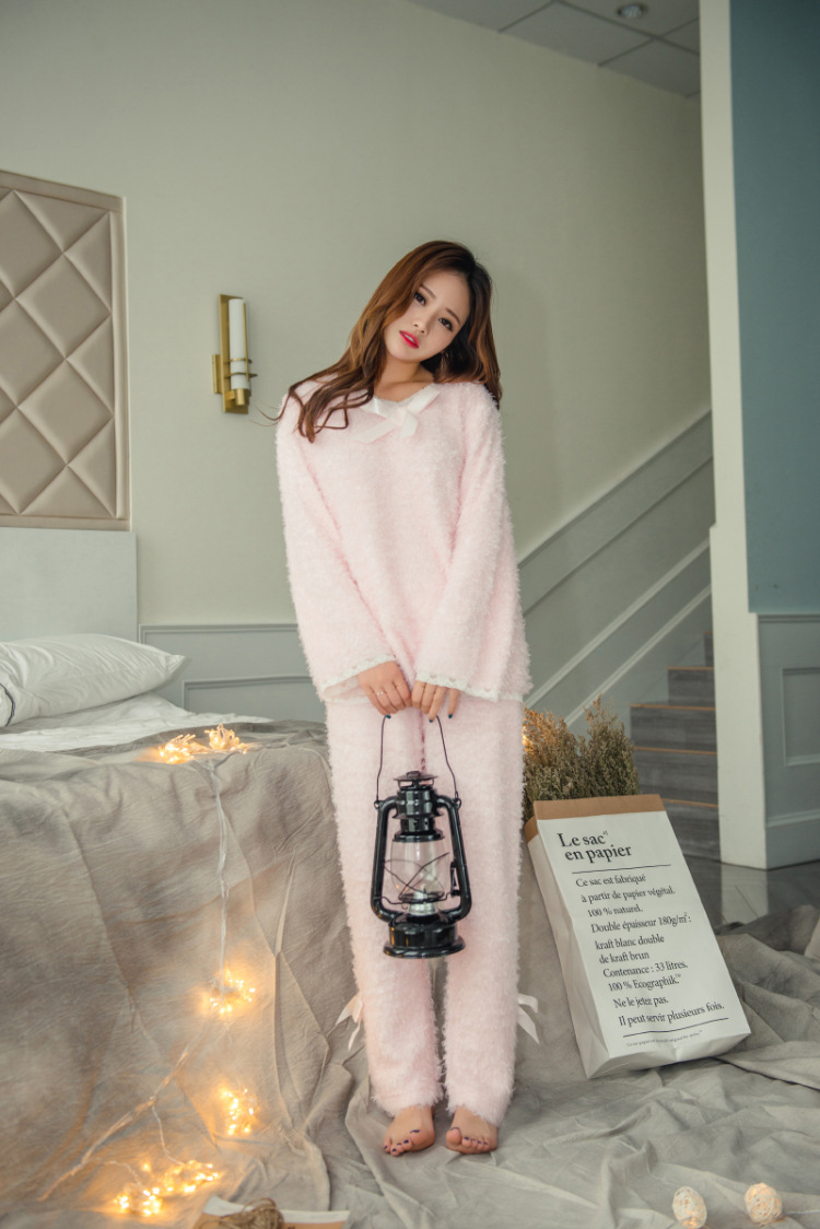 537a546879 Cute Fuzzy Women Pajamas Winter Sleepwear Set-in Pajama Sets from ...