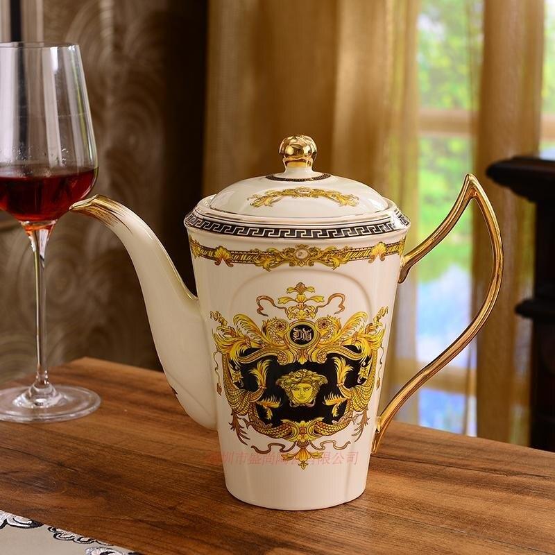 Позолоченные Кофейные Наборы чашек костяного фарфора/8 шт чайных чашек керамические. 1 чайник и 6 чашек - 4