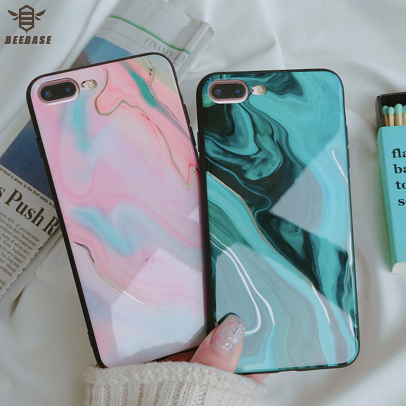 BEEBASE Glossy Hard Back Phone Case For iphone 6 7 8 case For iphone 10 6s 7 Plus 8Plus Cover Marble phone Case for iphone coque